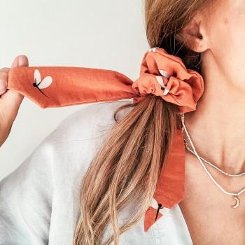 Dragonfly Papaya Bow Scrunchie - gumka do włosów