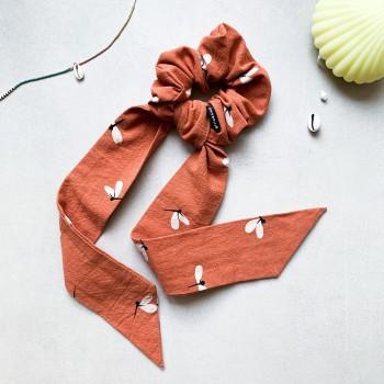 Dragonfly Papaya Scrunchie Tie - gumka ze wstążką maxi
