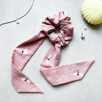 Dragonfly Pink Scrunchie Tie - gumka ze wstążką maxi