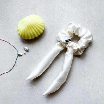 Latte Silk Bow - jedwabna gumka ze wstążką