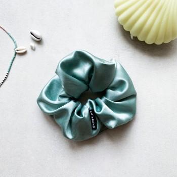 Sage Green Silk Scrunchie -  gumka do włosów z jedwabiem
