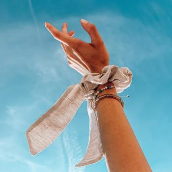 Sand Linen Bow - scrunchie ze wstążką