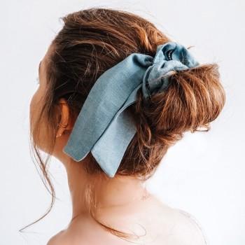 Aqua Linen Bow Scrunchie - gumka do włosów