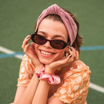 Bubble Pink Knotted Headband - opaska do włosów