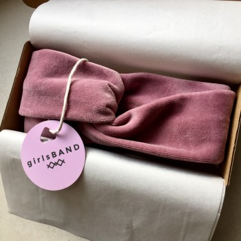 Bubble Pink Velvet Turban - opaska do włosów