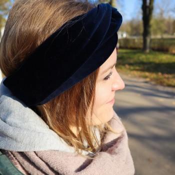 Navy Velvet Turban - opaska do włosów