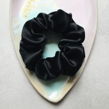 Noir Silk Scrunchie - czarna jedwabna gumka do włosów