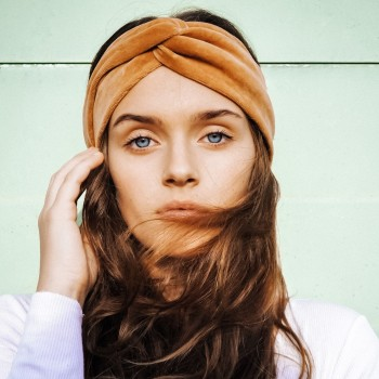 Caramel Velvet Turban - opaska do włosów